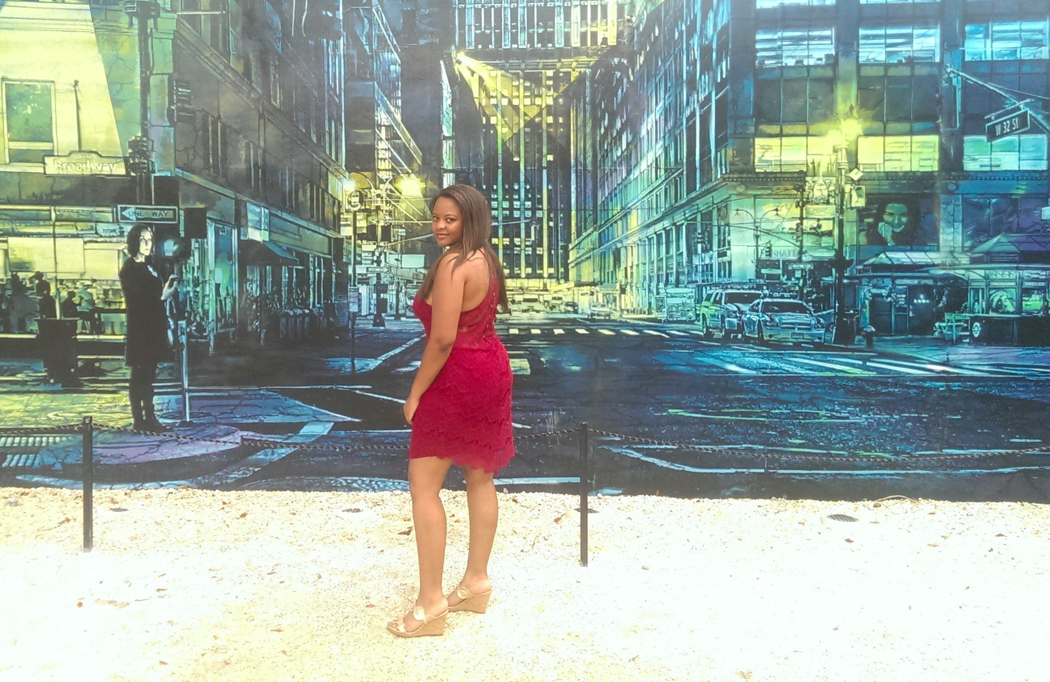 Wynwood walls in a Wine colored Free People eyelash lace dress and Jack Rogers wedges