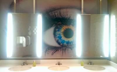 Eye mural in the bathroom of Savannah College of Art and Design.