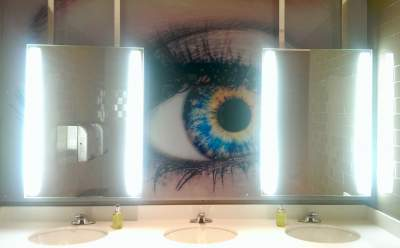 Eye mural in the bathroom of Savannah College of Art and Design.