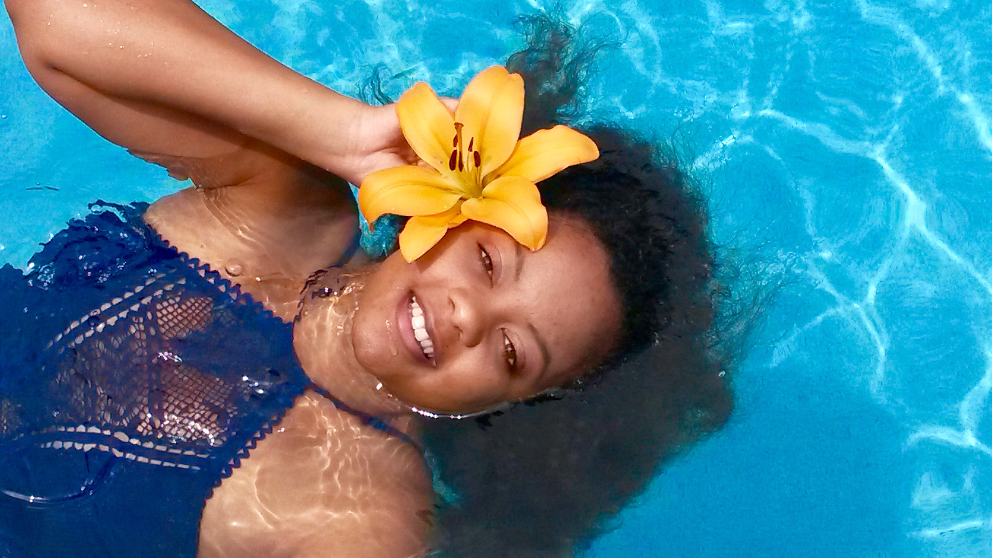 Becca Virtues Lace Blue Monokini Keri Elaine beautiful white teeth