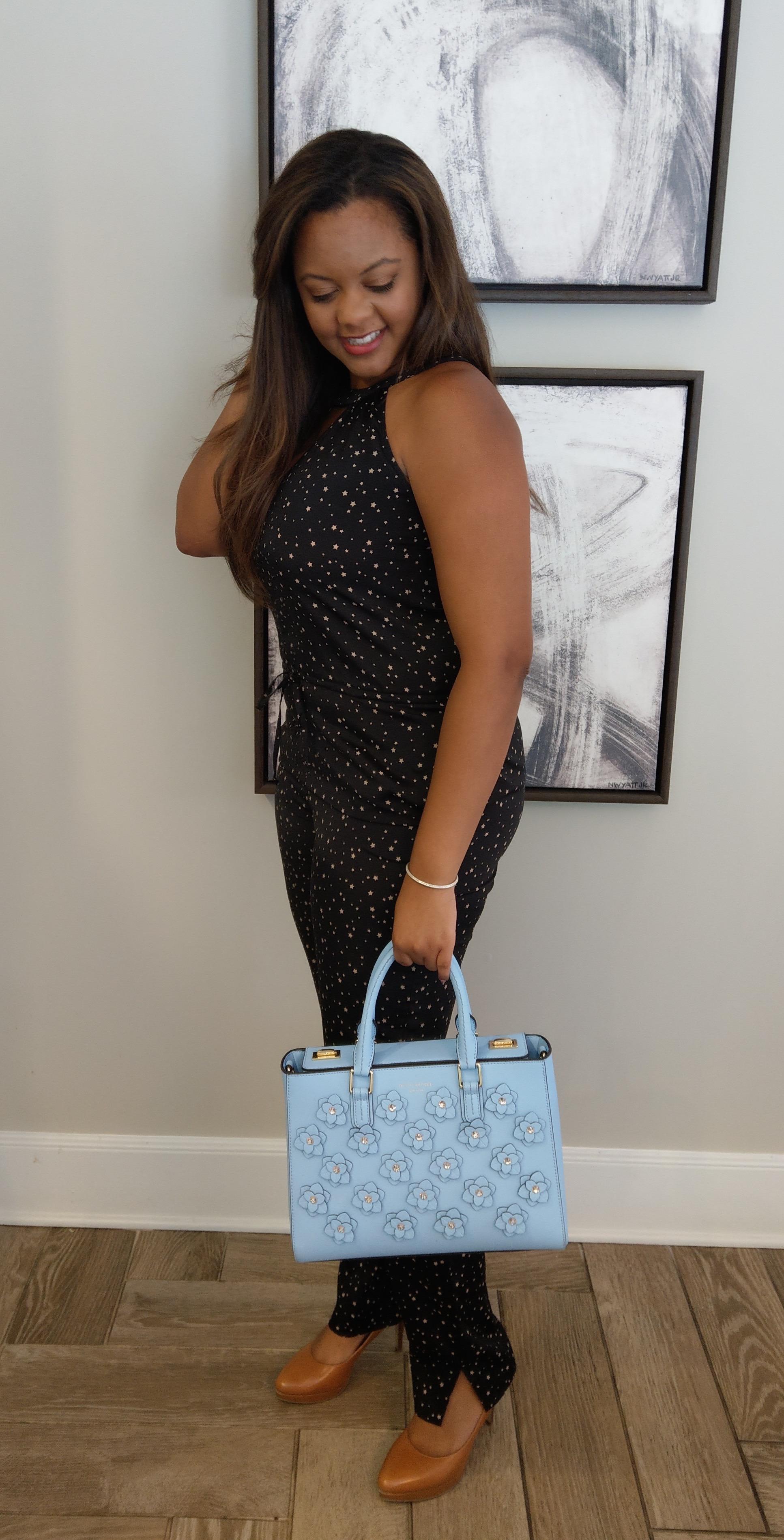 Keri Elaine Work looks tan heels and Henri Bendel bag