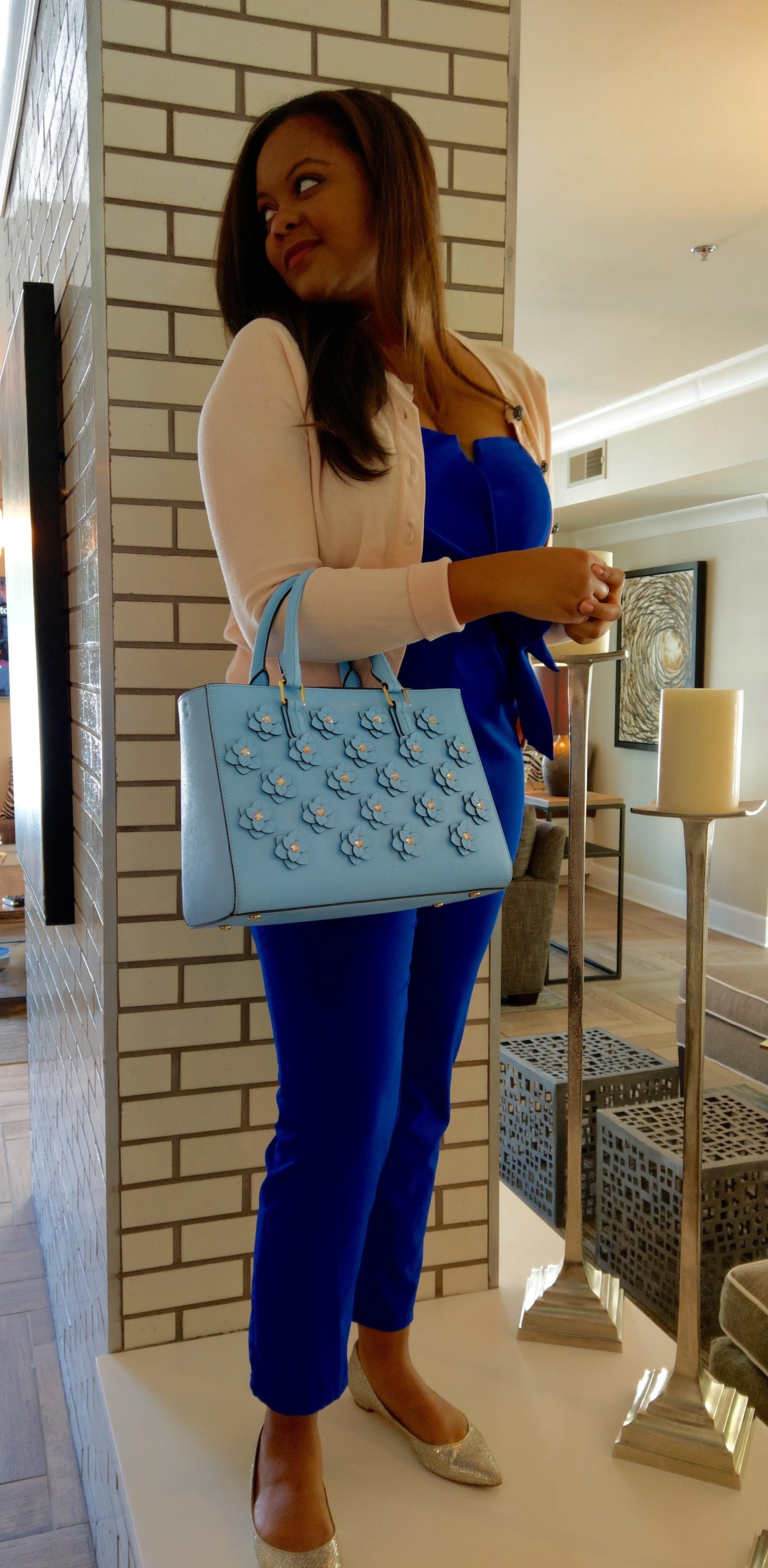Work looks Silver flats, Henri Bendel bag, cobalt jumpsuit with side tie pastel cardigan