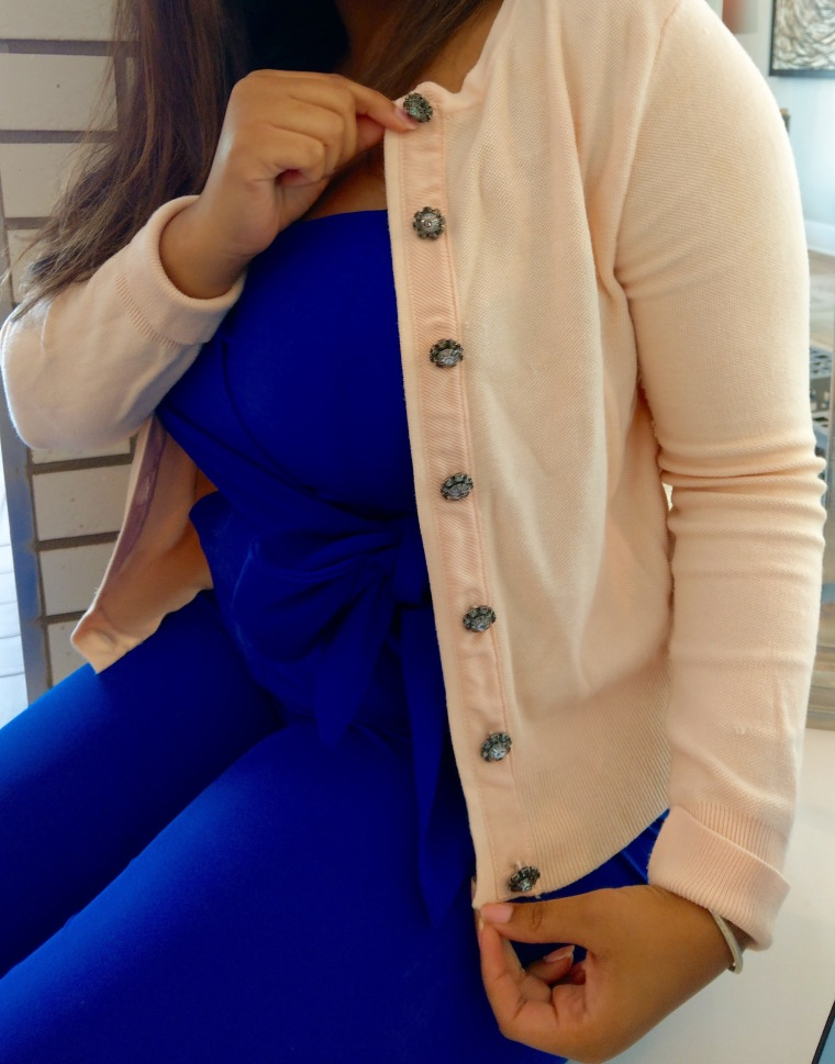 Pink cardigan with crystal buttons from Zara and a cobalt blue jumpsuit