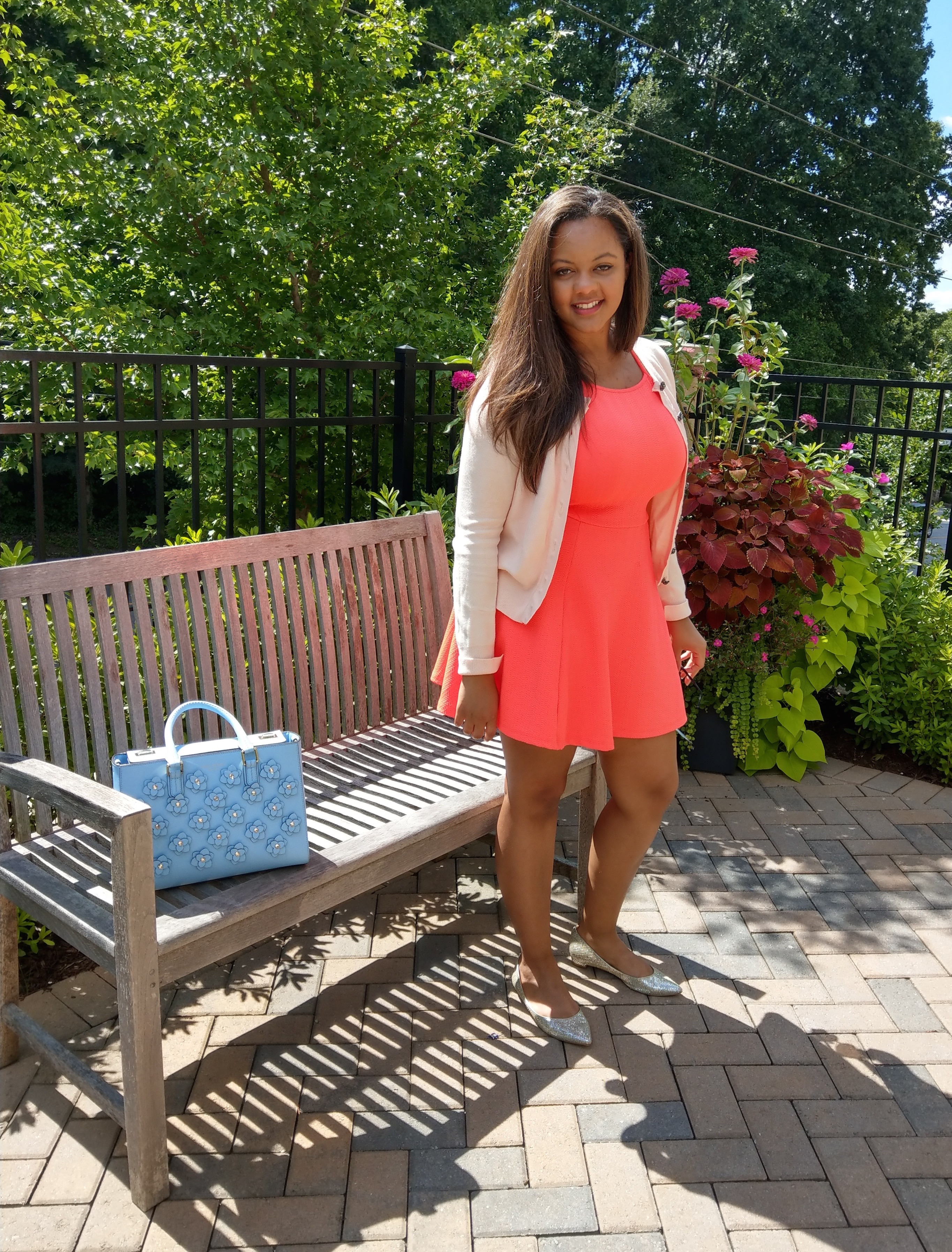 Keri Elaine Henri Bendel bag spring, neon pink skater dress and pastel pink Zara cardigan work dress