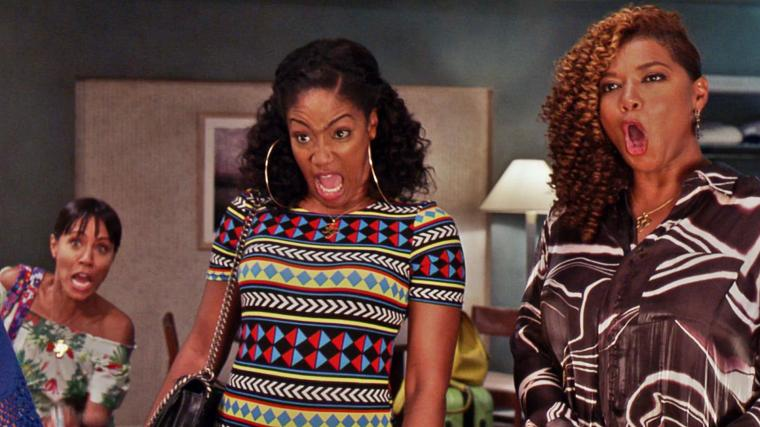 Girls trip scene with Tiffany and Queen Latifa