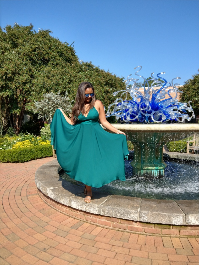 Keri Elaine Atlanta Botanical Gardens emerald green a-line dress and crystal fountain