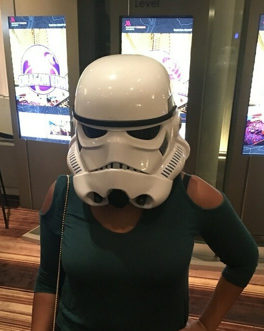 Stormtrooper on a green keyhole topped girl
