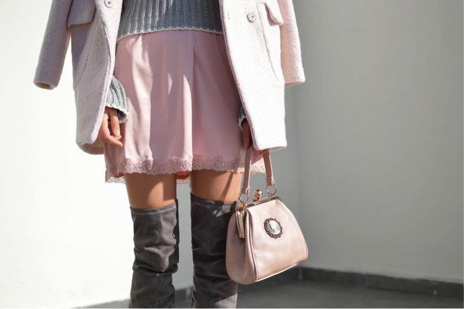 Pink skirt with grey knee high boots and a pink purse spring looks