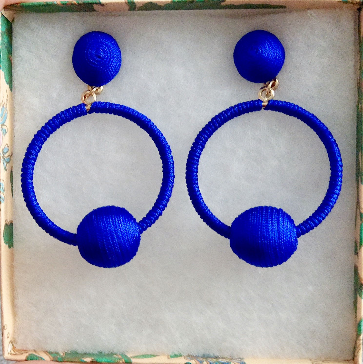 Cobalt blue yarn covered hoop earrings