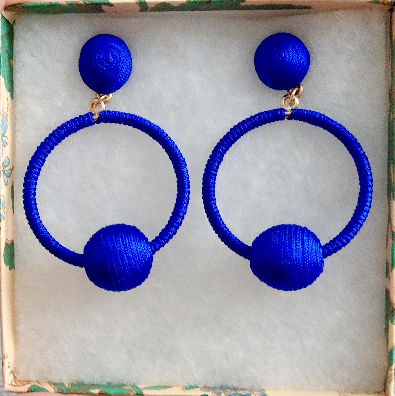 Cobalt blue yarn covered hoop earrings