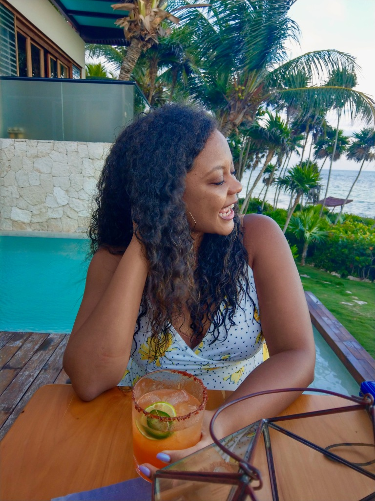 Beautiful laughing woman, black bloggers, vacation, spicy margarita, Mi Amor Tulum